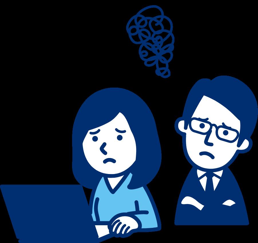 困った顔でパソコンを見るNPO法人スタッフの女性と男性のイラスト